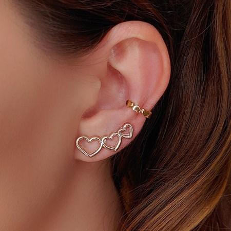 BRINCO EAR CUFF 3 CORAÇÕES BM335-O