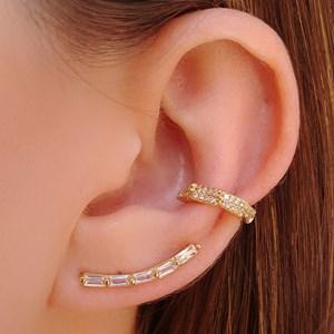 BRINCO EAR CUFF BAGUETE CRISTAL BM043-O