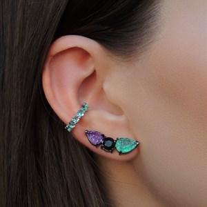 BRINCO EAR CUFF COLORS TURMALINA E TANZANITA FUSION BR386-G