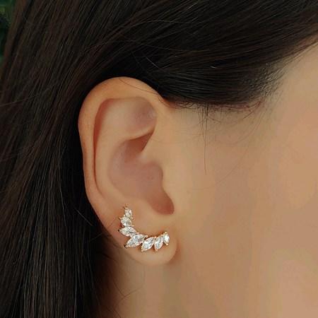 BRINCO EAR CUFF COM NAVETES CRISTAL OURO BM799-O