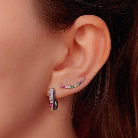 BRINCO EAR CUFF COM ZIRCÔNIA COLORS BM377-R