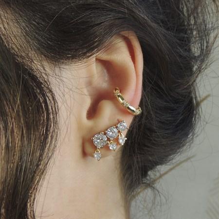 BRINCO EAR CUFF COM ZIRCÔNIAS CRISTAL NO OURO BM542-O