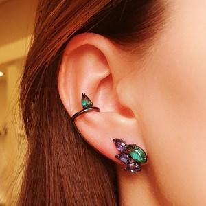 BRINCO EAR CUFF NAVETE TURMALINA E TANZANITA BRV001-G