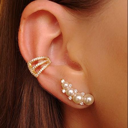 BRINCO EAR CUFF PEROLA E ZIRCONIA CRISTAL ECP01-O