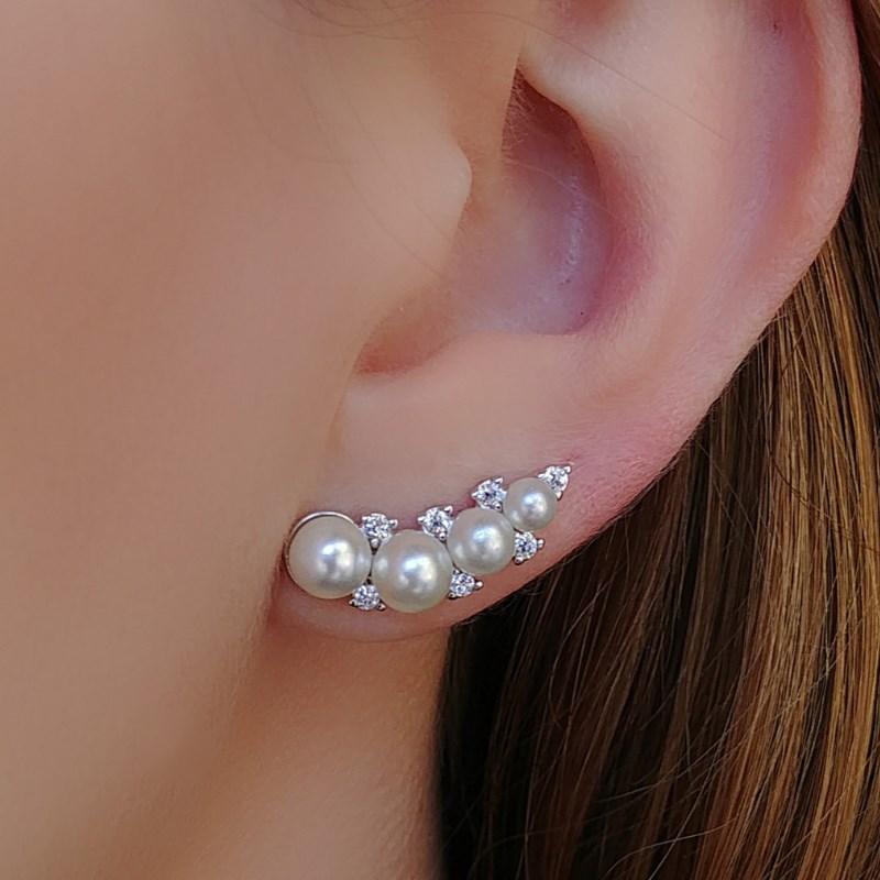 BRINCO EAR CUFF PEROLA E ZIRCONIA CRISTAL ECP01-R