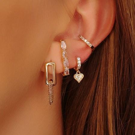 BRINCO EAR HOOK COM ZIRCÔNIA OVAL BM164-O