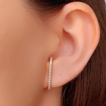 BRINCO EAR HOOK CRAVEJADO NO OURO BR346-O