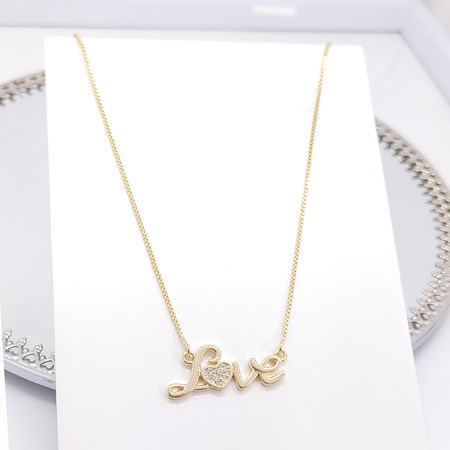 COLAR LOVE COM ZIRCÔNIA CRISTAL NO OURO CO199-O