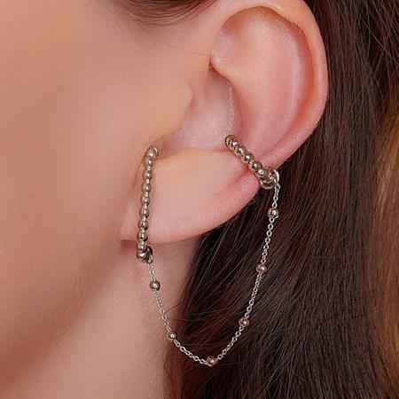 EAR HOOK COM PIERCING FAKE COM CORRENTE BM326-R